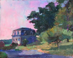 """Jules Besch"" oil painting of a historic house with a pink sunset behind"