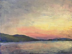 """Lake"" oil painting of a lake with hills and an orange and yellow sunset behind"
