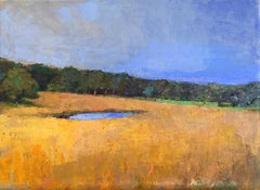 """Little Vineyard Pond"" Oil painting of Chilmark farm with gold grass, blue sky"