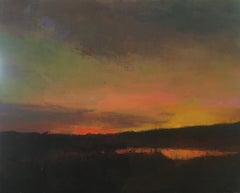 """""""Looking West"""" oil painting of an orange sunset over dark grasses"""