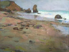 """""""Lucy Vincent"""" oil painting of Martha's Vineyard Beach and cliffs earth tones"""