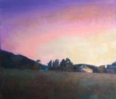 """""""Magenta Sky"""" oil painting of purple sunset over a field"""