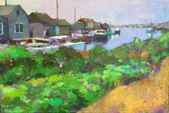 """""""Menemsha Docks"""" oil painting of green bushes in front of Martha's Vineyard Dock"""
