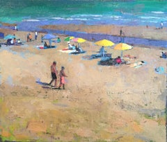 """""""Morning Sandbar"""" oil painting of colorful umbrellas and people at the beach"""