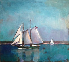 """Passing Schooners"" oil painting of sailboats with teal water and sky"