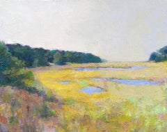"""Pastel Marsh"" Painterly Landscape in Bright Yellows, Dark Greens and Blues"