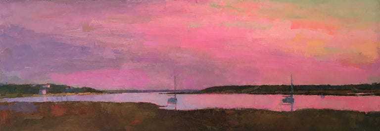 """Larry Horowitz Landscape Painting - """"Pink Dusk"""" panoramic oil painting of a pink sky reflecting on a harbor"""