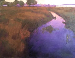 """Purple Rivulet"" Oil painting of a purple river through brown grass"