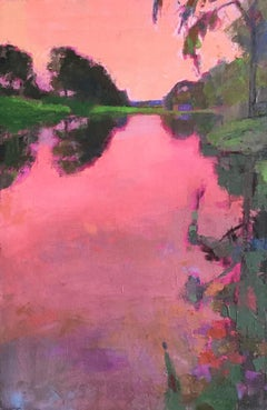"""Radiant Pink Sunset"" oil painting of a vibrant pink sunset reflecting on water"