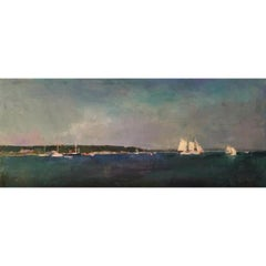 """Sailing Off Vineyard Haven"" oil painting of sailboats in deep blue harbor"