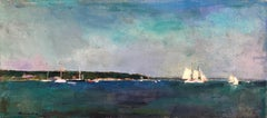 """""""Sailing Off Vineyard Haven"""" oil painting of sailboats in deep blue harbor"""