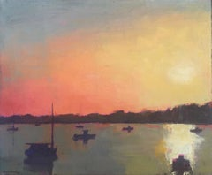 ''Shimmering Waters at Sunset'' oil painting of mixed red, orange, yellow sunset