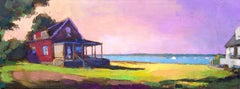 """St. Andrews Panorama"" oil painting of red house on the water with purple sunset"