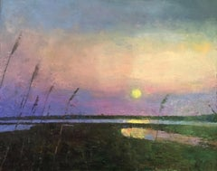 """Sunset Calm"" oil painting of sun setting over water and marshes"