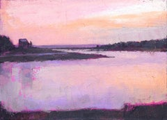 ''Sunset'' oil painting of beautiful landscape with purple sunset over the lake