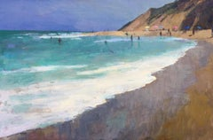 """The Surf"" Painterly Landscape, Blue and Turquoise Ocean, Brown Sienna Beach"