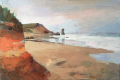 """Vineyard Beach"" oil painting of Lucy Vincent Beach in earth tones"