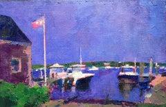 """Violet Harbor"" oil painting of dark blue sky over Edgartown Harbor"