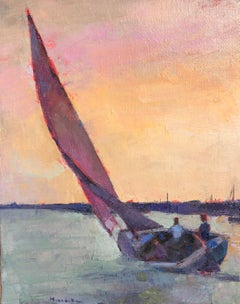 """""""Windward"""" oil painting of a sailboat with two people aboard against a pastel sk"""