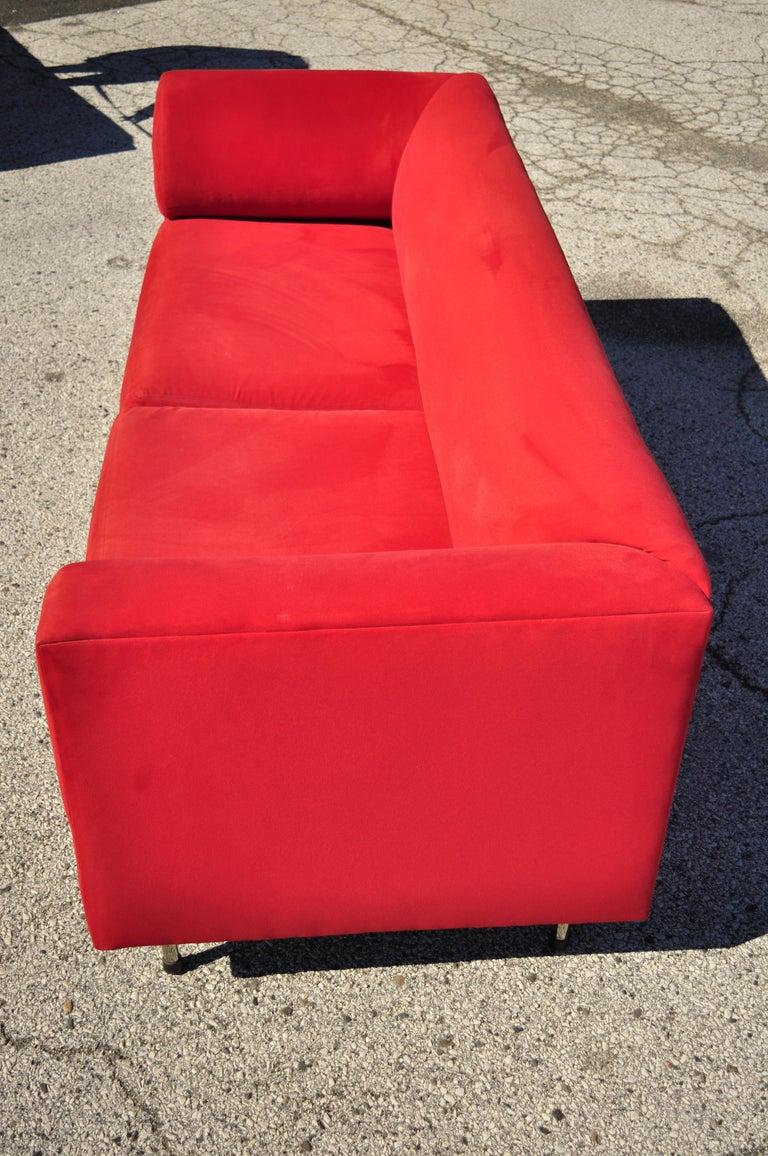 Larry Laslo for Directional Red Modern Italian Bauhaus Style Chrome Leg Sofa For Sale 5