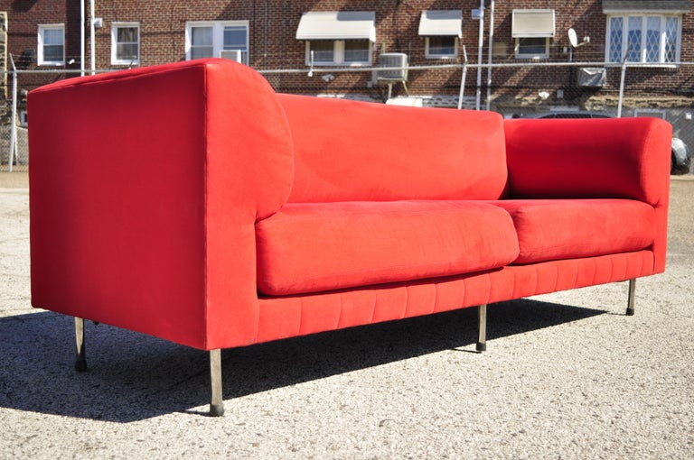 American Larry Laslo for Directional Red Modern Italian Bauhaus Style Chrome Leg Sofa For Sale