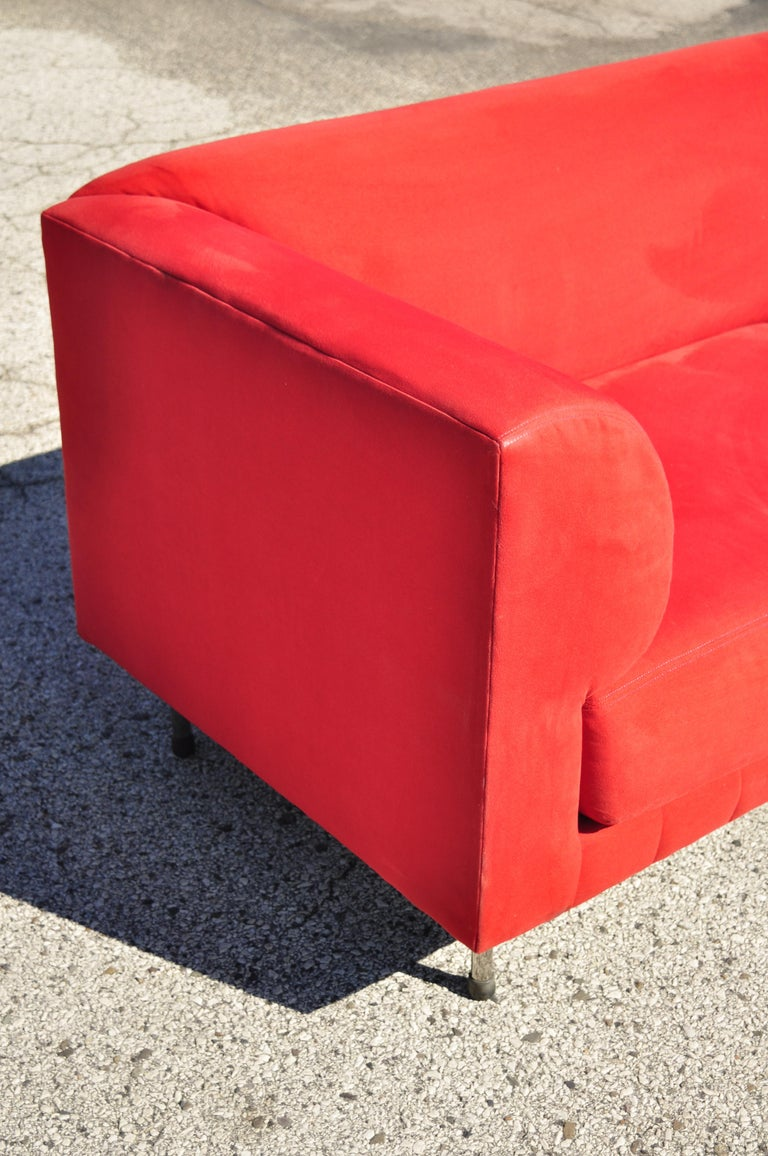 Larry Laslo for Directional Red Modern Italian Bauhaus Style Chrome Leg Sofa In Good Condition For Sale In Philadelphia, PA