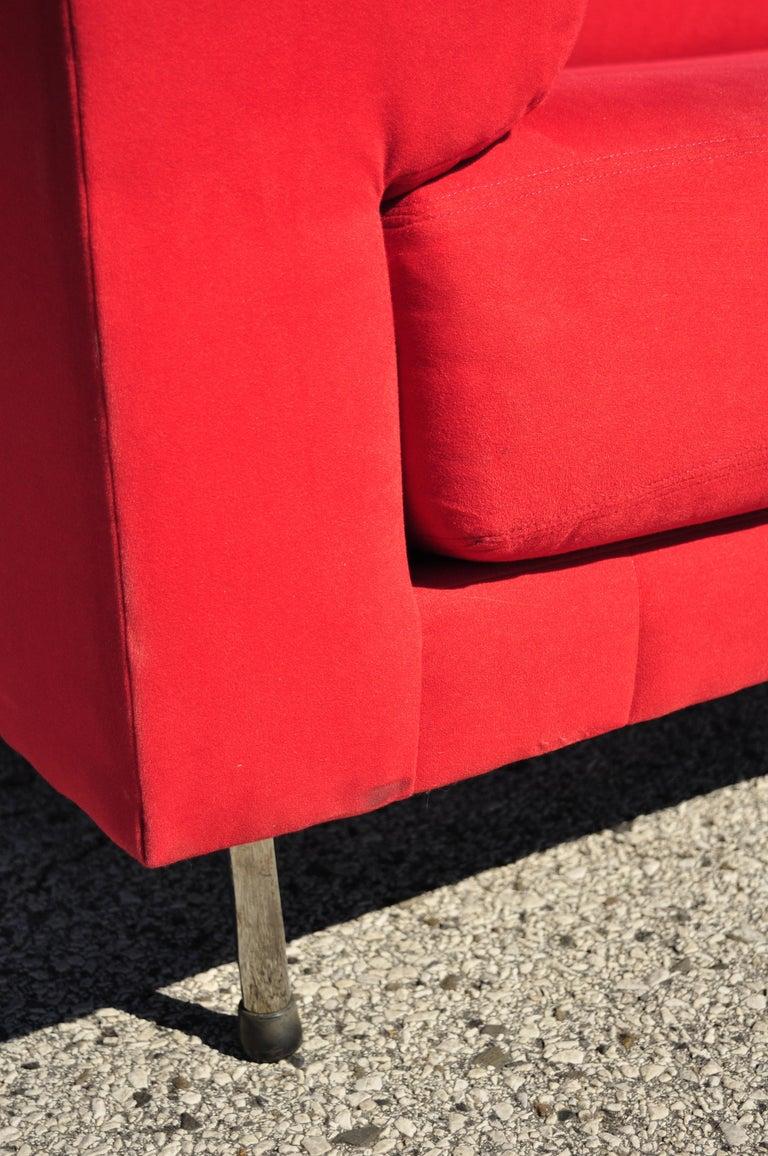 20th Century Larry Laslo for Directional Red Modern Italian Bauhaus Style Chrome Leg Sofa For Sale