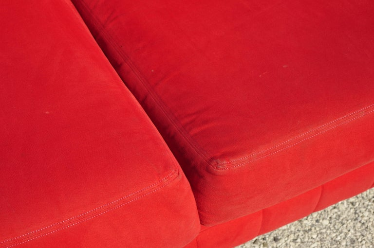 Metal Larry Laslo for Directional Red Modern Italian Bauhaus Style Chrome Leg Sofa For Sale