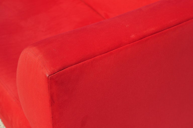 Larry Laslo for Directional Red Modern Italian Bauhaus Style Chrome Leg Sofa For Sale 1