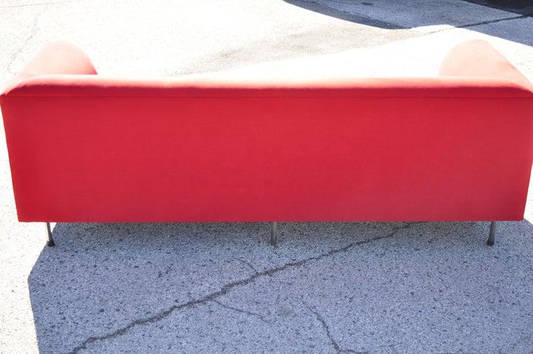 Larry Laslo for Directional Red Modern Italian Bauhaus Style Chrome Leg Sofa For Sale 2