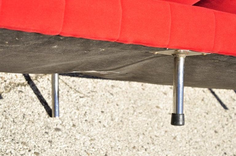 Larry Laslo for Directional Red Modern Italian Bauhaus Style Chrome Leg Sofa For Sale 3