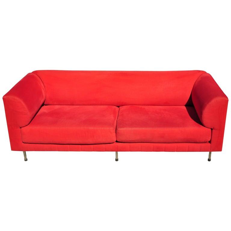 Larry Laslo for Directional Red Modern Italian Bauhaus Style Chrome Leg Sofa For Sale