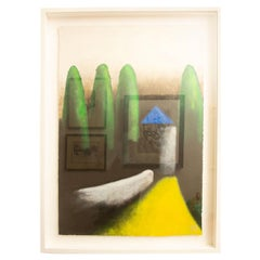 Larry Laslo Green, Yellow, Black Abstract Landscape on Paper Custom Framed
