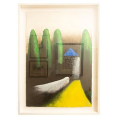 Larry Laslo Green, Yellow, Black Abstract Landscape on Paper Custom Framed
