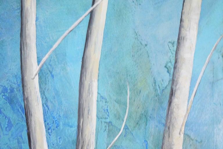 North American Larry Locke Original on Canvas, Blue, Green Impressionist For Sale