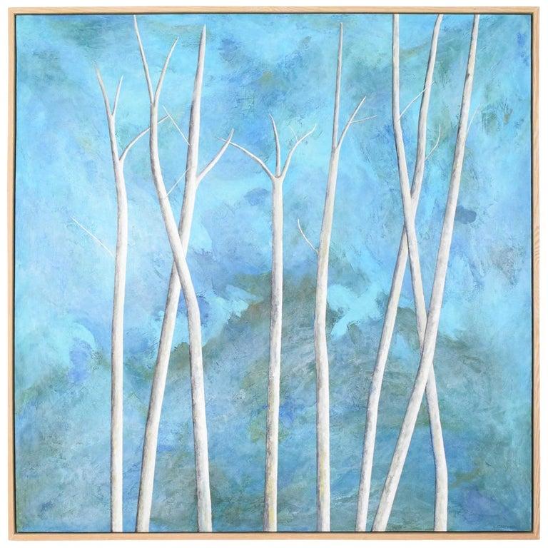 Larry Locke Original on Canvas, Blue, Green Impressionist For Sale