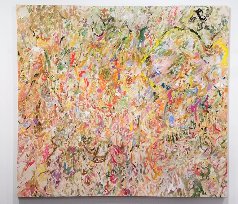 LARRY POONS Aronua, 2015 Acrylic painted on seamed canvases 67 1/4 x 73 3/4 inches Signed verso