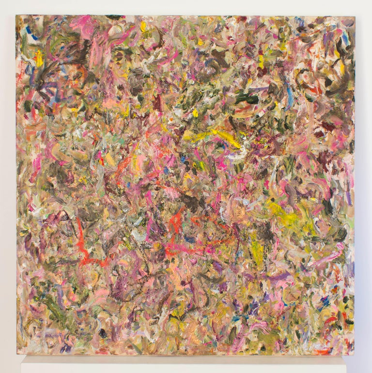 LARRY POONS Bedew, 2013 Acrylic on canvas 37 3/8 x 37 3/8 inches Signed Verso