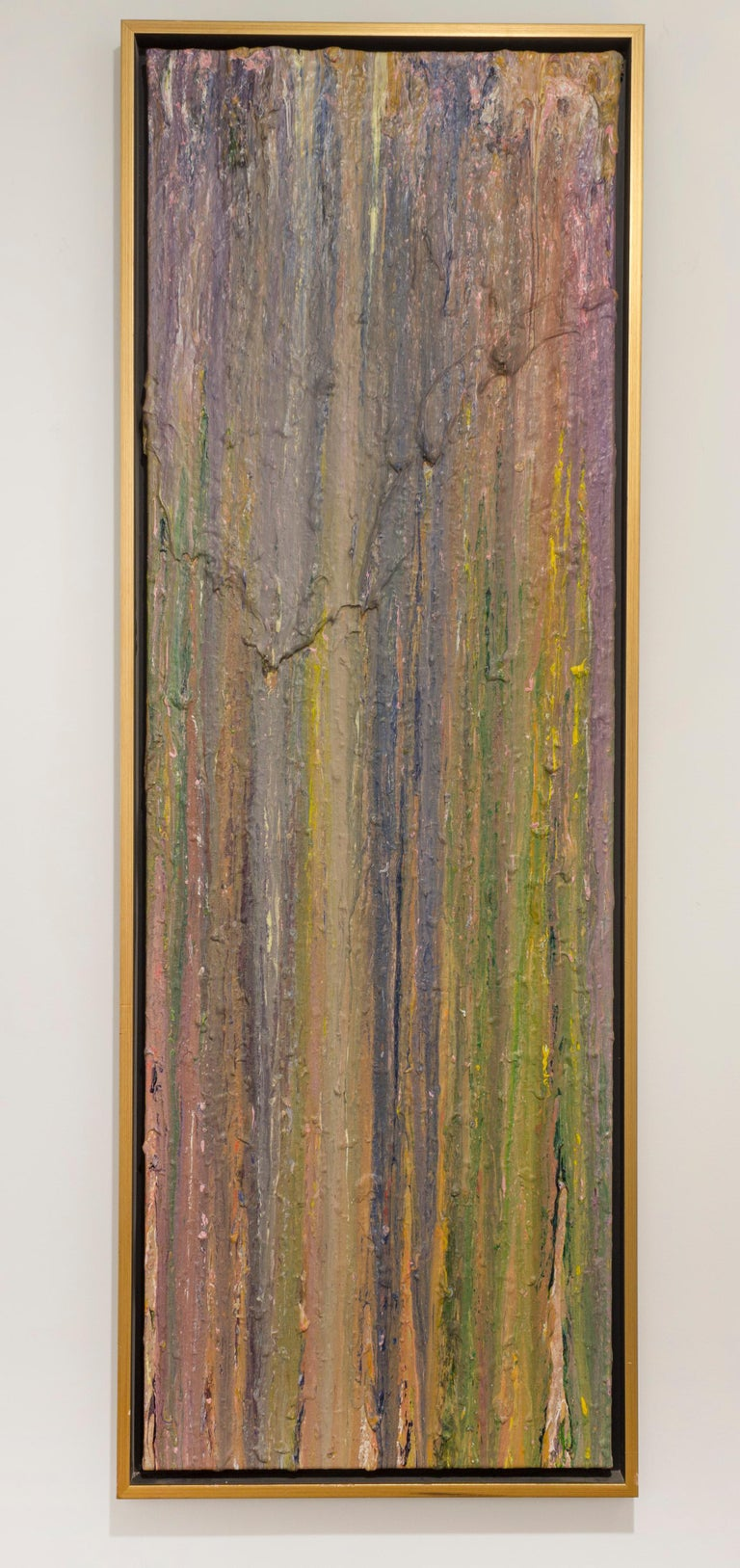 """LARRY POONS Bones Room, 1980 Acrylic on canvas 73-1/4 x 24-3/16 inches From the """"throw painting"""" series"""