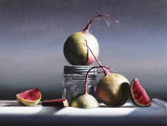 """""""Watermelon Radishes""""  Highly Realistic Small Still Life of Radishes and Glass"""