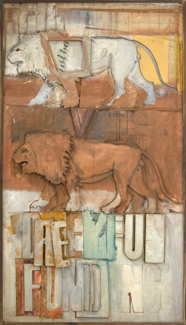 Lions on the Dreyfus Fund, Inc. - Painting by Larry Rivers