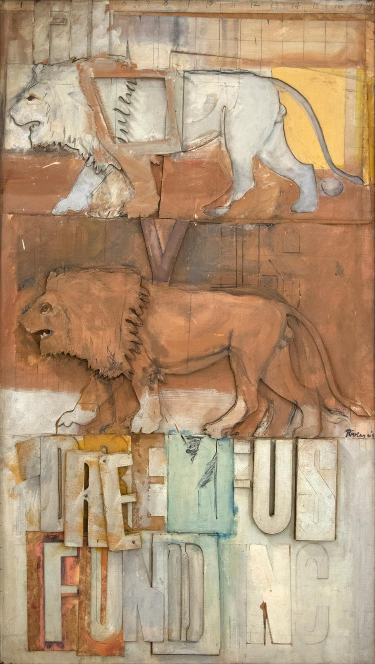 Larry Rivers Animal Painting - Lions on the Dreyfus Fund, Inc.