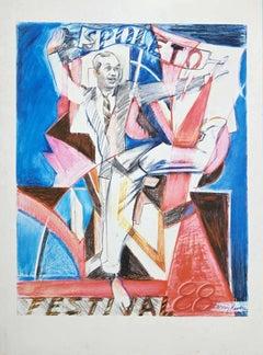 Spoleto Festival - Original Lithograph by Larry Rivers - 1988