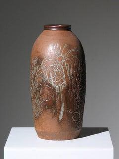Incised and Glazed Ceramic Vase