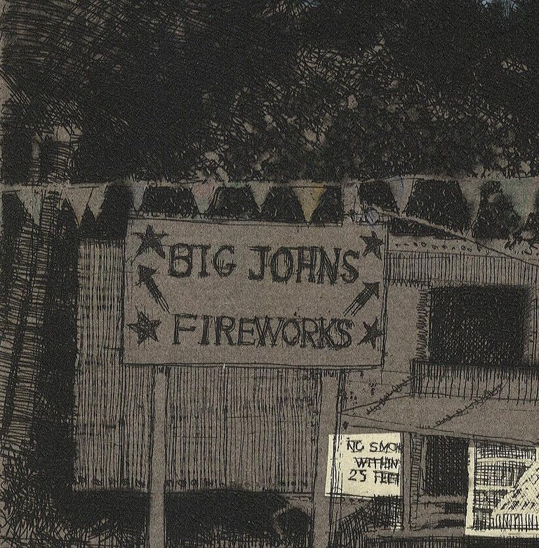 Big John's Fireworks (Get your bang from this Midwestern pop-up roadside stand) - Print by Larry Welo