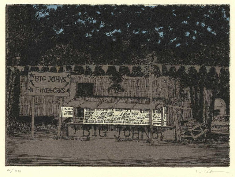 Big John's Fireworks (Get your bang from this Midwestern pop-up roadside stand) - Black Portrait Print by Larry Welo