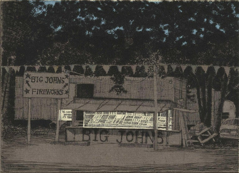 Larry Welo Portrait Print - Big John's Fireworks (Get your bang from this Midwestern pop-up roadside stand)