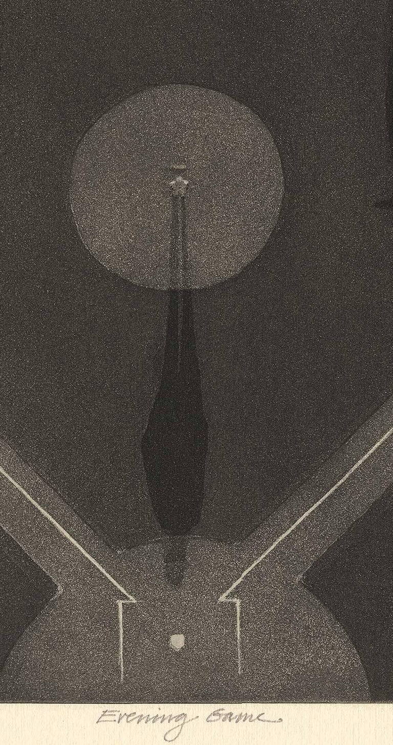 Evening Game (aerial view of night baseball game with players casting shadows) - American Modern Print by Larry Welo