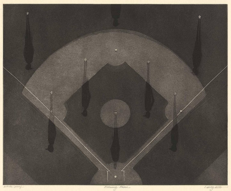 Larry Welo Landscape Print - Evening Game (aerial view of night baseball game with players casting shadows)