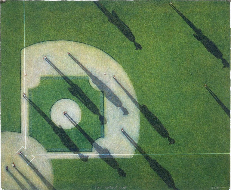 Larry Welo Landscape Print - The Catbird Seat (an aerial view of the majesty of the baseball diamond)